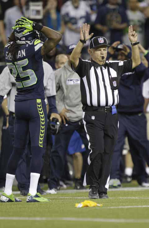 Seattle Seahawks Richard Sherman &#40;25&#41; listens to a call by an official during second half of an NFL football game between the Green Bay Packers and Seattle Seahawks, Monday, Sept. 24, 2012, in Seattle. &#40;AP Photo&#47;Ted S. Warren&#41; <span class=meta>(AP Photo&#47; Ted S. Warren)</span>