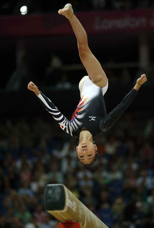 Japanese gymnast Asuka Teramoto performs on the balance beam during the Artistic Gymnastics women&#39;s team final at the 2012 Summer Olympics, Tuesday, July 31, 2012, in London. &#40;AP Photo&#47;Matt Dunham&#41; <span class=meta>(AP Photo&#47; Matt Dunham)</span>