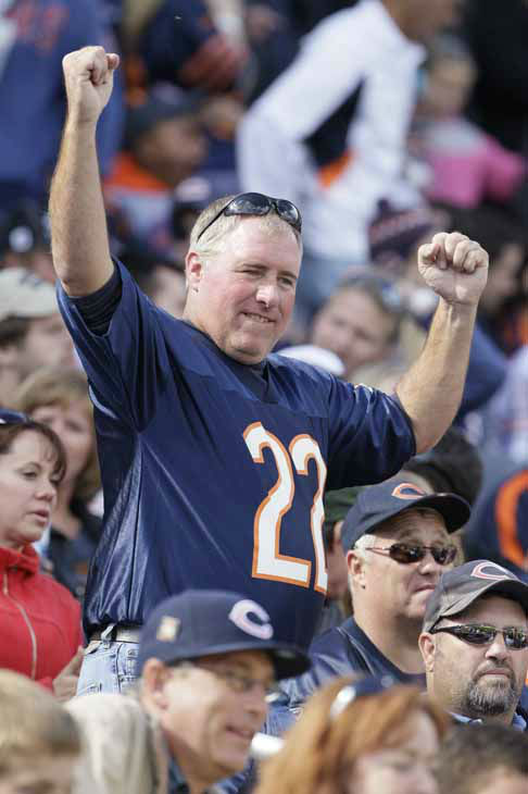 A Chicago Bears fan reacts in the second half of an NFL football game against the St. Louis Rams in Chicago, Sunday, Sept. 23, 2012. The Bears won 23-6. &#40;AP Photo&#47;Nam Y. Huh&#41; <span class=meta>(AP Photo&#47; Nam Y. Huh)</span>