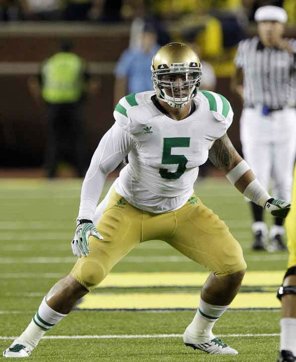 "<div class=""meta image-caption""><div class=""origin-logo origin-image ""><span></span></div><span class=""caption-text"">FILE - A Sept. 20, 2011 file photo, Notre Dame linebacker Manti Te'o follows the action during an NCAA college football game against Michigan in Ann Arbor, Mich. (AP Photo/Carlos Osorio, File) (AP Photo/ Carlos Osorio)</span></div>"