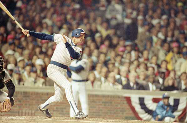 Chicago Cubs Mark Grace belts a double for an RBI during the first inning against the San Francisco Giants during National League playoff action in Chicago Thursday, Oct. 5, 1989. &#40;AP Photo&#47;John Swart&#41; <span class=meta>(AP Photo&#47; John Swart)</span>