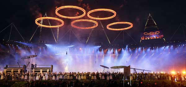 The Olympic rings are lit with pyrotechnics during the Opening Ceremony at the 2012 Summer Olympics, Friday, July 27, 2012, in London. &#40;AP Photo&#47;David Goldman&#41; <span class=meta>(AP Photo&#47; David Goldman)</span>