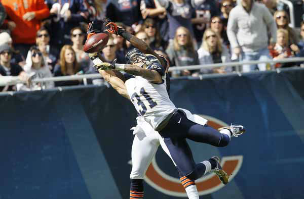 St. Louis Rams cornerback Cortland Finnegan &#40;31&#41; breaks up a pass intended for Chicago Bears wide receiver Alshon Jeffery &#40;17&#41; in the first half of an NFL football game in Chicago, Sunday, Sept. 23, 2012. &#40;AP Photo&#47;Charles Rex Arbogast&#41; <span class=meta>(AP Photo&#47; Charles Rex Arbogast)</span>
