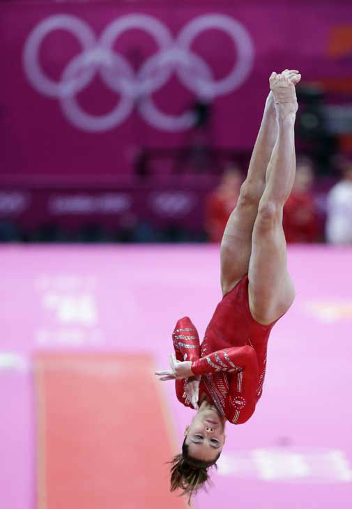 "<div class=""meta ""><span class=""caption-text "">U.S. gymnast McKayla Maroney performs on the vault during the Artistic Gymnastic women's team final at the 2012 Summer Olympics, Tuesday, July 31, 2012, in London. (AP Photo/Gregory Bull) (AP Photo/ Gregory Bull)</span></div>"