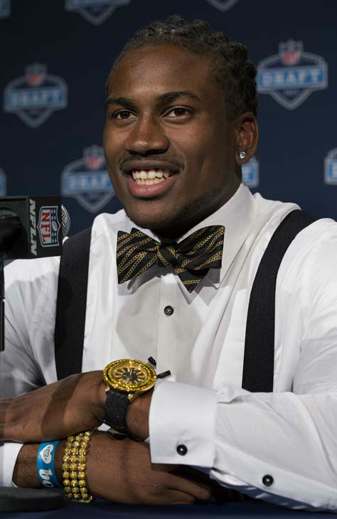 Tennessee&#39;s Cordarrelle Patterson addresses a news conference after being selected 29th by the Minnesota Vikings during the first round of the NFL Draft, Thursday, April 25, 2013 at Radio City Music Hall in New York. &#40;AP Photo&#47;Craig Ruttle&#41; <span class=meta>(AP Photo&#47; Craig Ruttle)</span>
