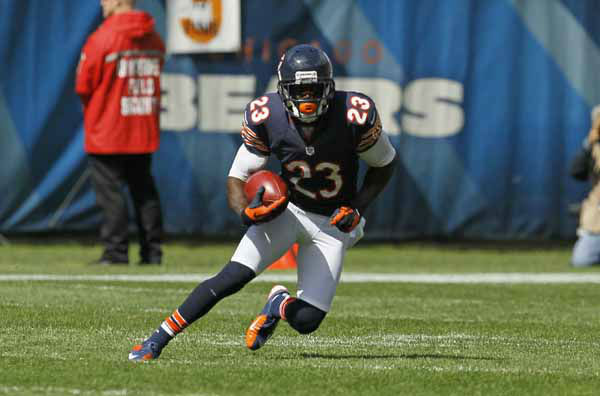 Chicago Bears wide receiver Devin Hester &#40;23&#41; runs with the ball against the St. Louis Rams in the first half of an NFL football game in Chicago, Sunday, Sept. 23, 2012. &#40;AP Photo&#47;Charles Rex Arbogast&#41; <span class=meta>(AP Photo&#47; Charles Rex Arbogast)</span>