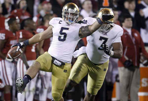 "<div class=""meta ""><span class=""caption-text "">FILE - In this Oct. 27, 2012 file photo, Notre Dame linebacker Manti Te'o (5) celebrates with teammate Stephon Tuitt (7) after an interception against Oklahoma in the fourth quarter of an NCAA college football game in Norman, Okla. Te'o is a finalist for the Heisman Trophy, which will be awarded Saturday, Dec. 8, 2012, in New York. (AP Photo/Sue Ogrocki, File) (AP Photo/ Sue Ogrocki)</span></div>"