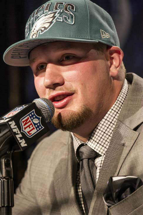 "<div class=""meta image-caption""><div class=""origin-logo origin-image ""><span></span></div><span class=""caption-text"">Lane Johnson, from Oklahoma, speaks during a news conference after being selected fourth overall by the Philadelphia Eagles during the first round of the NFL football draft, Thursday, April 25, 2013, at Radio City Music Hall in New York. (AP Photo/Craig Ruttle) (AP Photo/ Craig Ruttle)</span></div>"