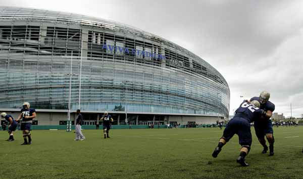 The Navy football team during a training session at the Aviva Stadium, Dublin, Ireland, Thursday, Aug. 30, 2012.  American college football team Notre Dame play the Navy team on Saturday in Dublin.  &#40;AP Photo&#47;Peter Morrison&#41; <span class=meta>(AP Photo&#47; Peter Morrison)</span>