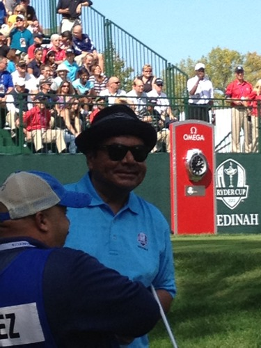 "George Lopez at #RyderCup. Someone yelled ""Odelay George!"". He yelled back ""English!""  Via @RaferWeigel"