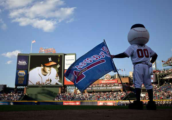 9.Homer, Atlanta Braves: The Atlanta Braves mascot watches a video broadcast on the outfield scoreboard before that start an opening day baseball game between the Atlanta Braves and the Philadelphia Phillies, Monday, April 1, 2013, in Atlanta. &#40;AP Photo&#47;David Goldman&#41; <span class=meta>(AP Photo)</span>