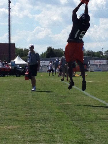 Brandon Marshall makes a leaping catch. Photo  taken by ABC7's Rafer Weigel on July 27, 2012, at Bears training camp in Bourbonnais.   Follow Rafer on Twitter.