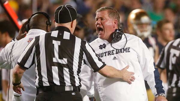 "<div class=""meta ""><span class=""caption-text "">Notre Dame head coach Brian Kelly argues a call during the first half of the BCS National Championship college football game against Alabama Monday, Jan. 7, 2013, in Miami. (AP Photo/John Bazemore)</span></div>"