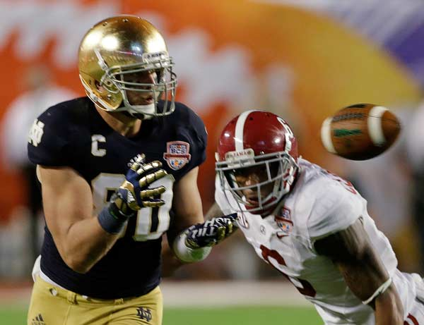 Notre Dame's Tyler Eifert (80) catches a pass in front of Alabama's Ha'Sean Clinton-Dix (6) during the second half of the BCS National Championship college football game Monday, Jan. 7, 2013, in Miami. (AP Photo/Chris O'Meara)