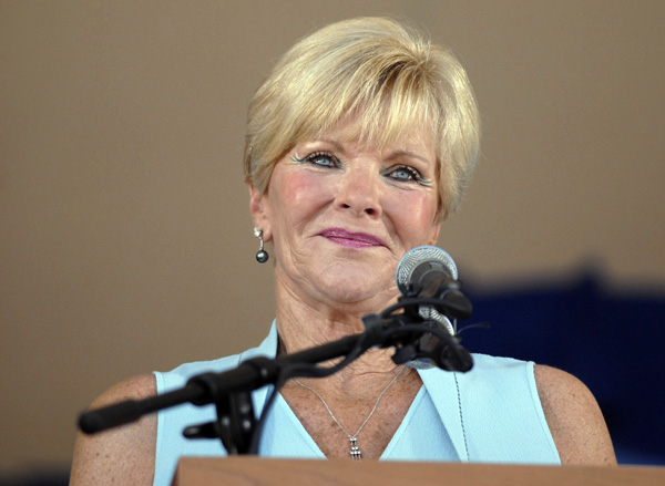 Vicki Santo, widow of star Chicago Cubs third baseman and team broadcaster Ron Santo, delivers a speech during his National Baseball Hall of Fame and Museum induction ceremony, Sunday, July 22, 2012, in Cooperstown, N.Y. (AP Photo/Tim Roske)