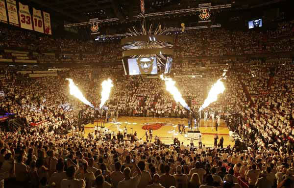 Pyrotechnics shoot off in the pre-game moments before the first half of Game 1 of basketball&#39;s NBA Finals between the Miami Heat and the San Antonio Spurs, Thursday, June 6, 2013 in Miami.  <span class=meta>(AP Photo&#47;Wilfredo Lee)</span>