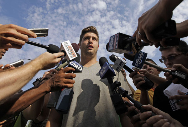 Chicago Bears quarterback Jay Cutler speaks at a news conference as he arrives at NFL football training camp at Olivet Nazarene University in Bourbonnais, Ill., Tuesday, July 24, 2012.  <span class=meta>(AP Photo&#47;Nam Y. Huh)</span>