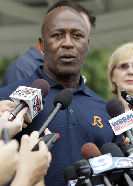 "<div class=""meta image-caption""><div class=""origin-logo origin-image ""><span></span></div><span class=""caption-text"">Chicago Bears head coach Lovie Smith speaks at a news conference at NFL football training camp at Olivet Nazarene University in Bourbonnais, Ill., Tuesday, July 24, 2012.  (AP Photo/Nam Y. Huh)</span></div>"