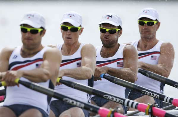 U.S. rowers, from left, Elliot Hovey, Peter Graves, Alexander Osborne and Wesley Piermarini at start of a men&#39;s rowing quadruple sculls repechage in Eton Dorney, near Windsor, England, at the 2012 Summer Olympics, Monday, July 30, 2012.  <span class=meta>(AP Photo&#47;Chris Carlson)</span>