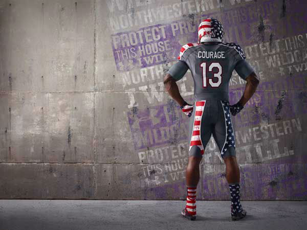 Instead of the football player&#39;s last name, the gray jerseys with red, white and blue will have one of seven words on the back: duty, honor, courage, commitment, integrity, country and service.  <span class=meta>(WLS Photo&#47; Northwestern  University)</span>