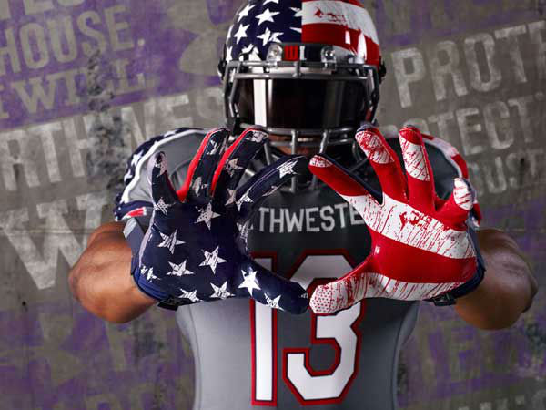 Northwestern Wounded Warrior uniforms in red, white and blue will take the place of the Wildcats&#39; purple jerseys on the game against Michigan, November 16.  <span class=meta>(WLS Photo&#47; Northwestern  University)</span>