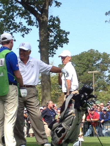 Corey Pavin and Lee Trevino at #RyderCup. Via @RaferWeigel