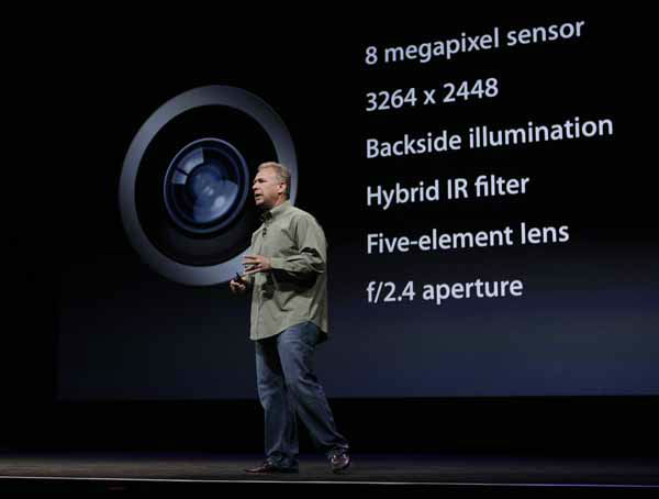 Phil Schiller, Apple&#39;s senior vice president of worldwide marketing, talks about the features of the new camera and iSight during an introduction of the new iPhone 5 at an Apple event in San Francisco, Wednesday Sept. 12, 2012. &#40;AP Photo&#47;Eric Risberg&#41; <span class=meta>(AP Photo&#47; Eric Risberg)</span>
