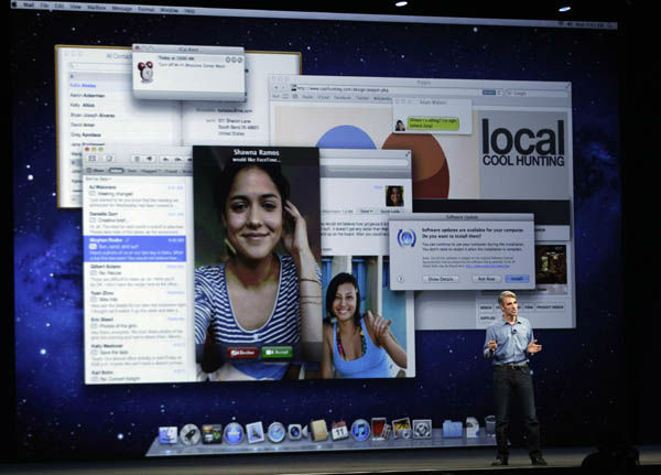 Craig Federighi, Vice president on Mac Software, talks about the new Mountain Lion software during the Apple Developers Conference in San Francisco,  Monday, June 11, 2012. The new Mountain Lion system narrows the gap between the PC and phone software packages, making Mac personal computers work more like iPhones.  &#40;AP Photo&#47;Marcio Jose Sanchez&#41; <span class=meta>(AP Photo&#47; Marcio Jose Sanchez)</span>