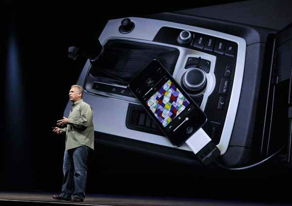 Phil Schiller, Apple&#39;s senior vice president of worldwide marketing, speaks on stage about new connectivity features during an introduction of the new iPhone 5 in San Francisco, Wednesday Sept. 12, 2012. &#40;AP Photo&#47;Eric Risberg&#41; <span class=meta>(AP Photo&#47; Eric Risberg)</span>