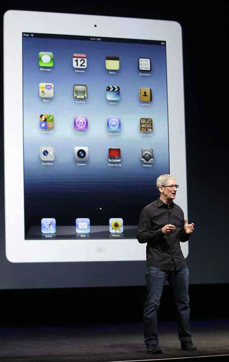 Apple CEO Tim Cook speaks in front of an image of an iPad during an Apple event in San Francisco, Wednesday, Sept. 12, 2012. &#40;AP Photo&#47;Jeff Chiu&#41; <span class=meta>(AP Photo&#47; Jeff Chiu)</span>