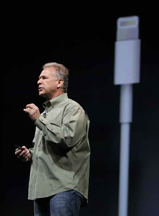Phil Schiller, Apple&#39;s senior vice president of worldwide marketing, speaks on stage about new connectivity options during an introduction of the new iPhone 5 in San Francisco, Wednesday Sept. 12, 2012. &#40;AP Photo&#47;Eric Risberg&#41; <span class=meta>(AP Photo&#47; Eric Risberg)</span>
