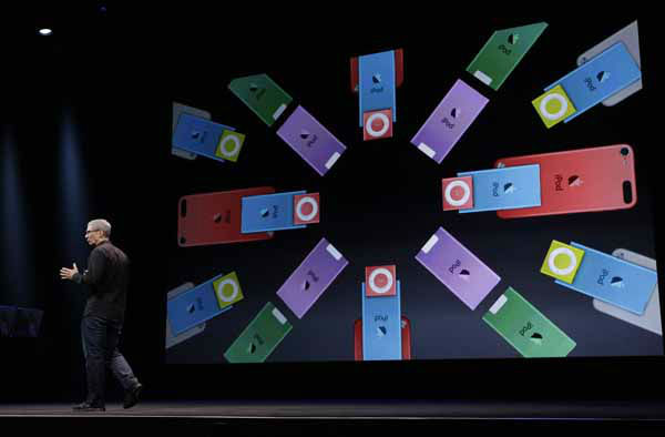 Apple CEO Tim Cook talks about the company&#39;s new iPods during an introduction of new products in San Francisco, Wednesday, Sept. 12, 2012.  &#40;AP Photo&#47;Eric Risberg&#41; <span class=meta>(AP Photo&#47; Eric Risberg)</span>