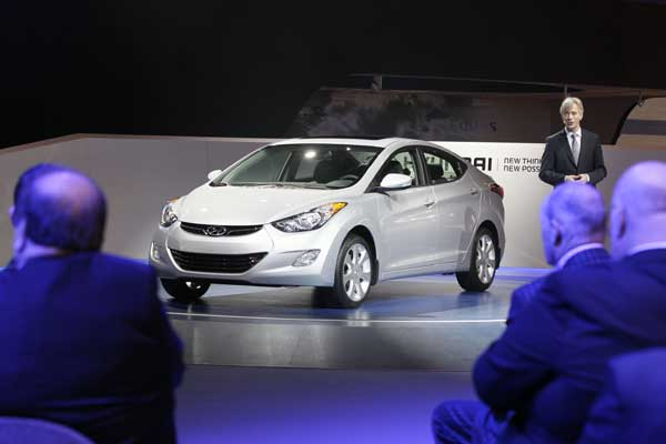 Hyundai Motor America President &amp; CEO John Krafcik introduces the 2013 Hyundai Elantra during the media preview of the Chicago Auto Show at McCormick Place in Chicago on Wednesday, Feb. 8, 2012. <span class=meta>( AP photo&#47;Nam Y. Huh)</span>