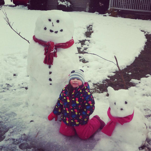 Spending my spring break making snowmen and snow dogs with my niece -Alexis Stombaugh