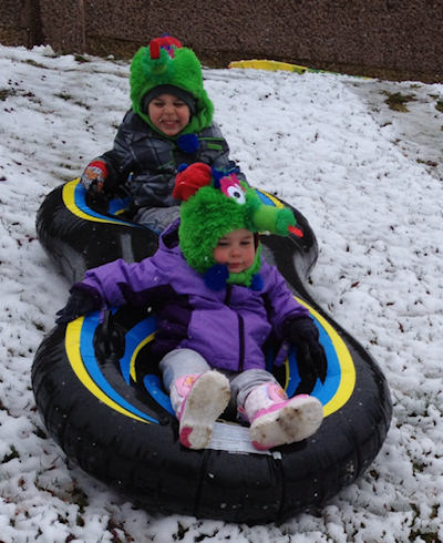 Carter, 3, and Chayse, 1, sledding off a hill enjoying the snow in Gloucester City NJ!