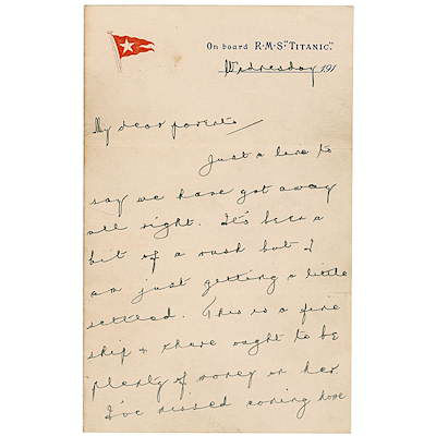 This is the last known letter from Titanic's heroic bandleader, Wallace Hartley. It just one of some of the items from the RMS Titanic that will be auctioned April 19-26 at website www.rrauction.com