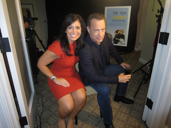 Action News at 4's Alicia Vitarelli and actor Tom Hanks.  Alicia interviewed Hanks at the Four Seasons Hotel in Center City Philadelphia, June 23, 2011.