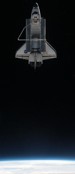 This image provided by NASA shows the space shuttle Atlantis photographed from the International Space Station as the orbiting complex and the shuttle performed final separation of a space shuttle in the early hours of Tuesday July 19, 2011. The Raffaello multi-purpose logistics module, which transported tons of supplies to the complex, can be seen in the cargo bay. It is filled with different materials from the station for return to Earth.  <span class=meta>(&#40;AP Photo&#47;NASA&#41;)</span>