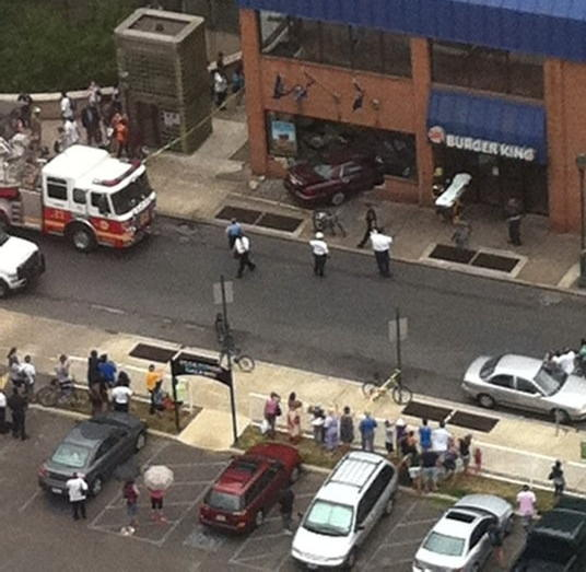 A viewer submitted this photo of the scene after a car rammed a Burger King restaurant in Center City Philadelphia Monday afternoon.