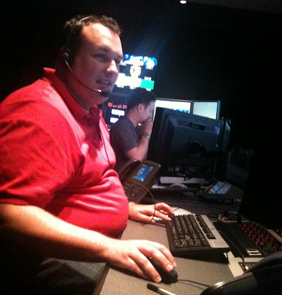 Producer Nick Paine in the control room with director Mike Angelini during Action News at 4 on Monday, July 25, 2011.