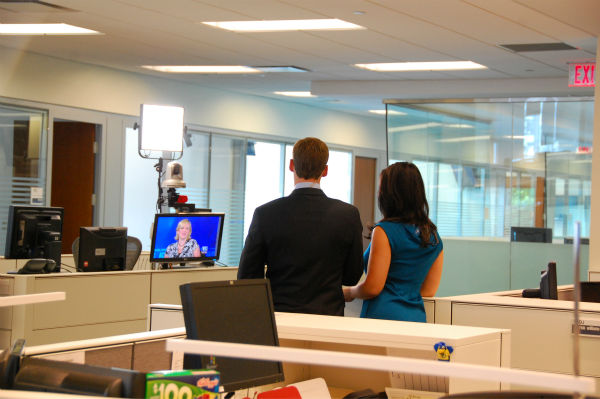 Here is  reverse shot of Alicia Vitarelli and Brian Taff doing a stand-up tease for Action News at 4 during the Noon news on September 13th. <span class=meta>(Mike Angelini)</span>