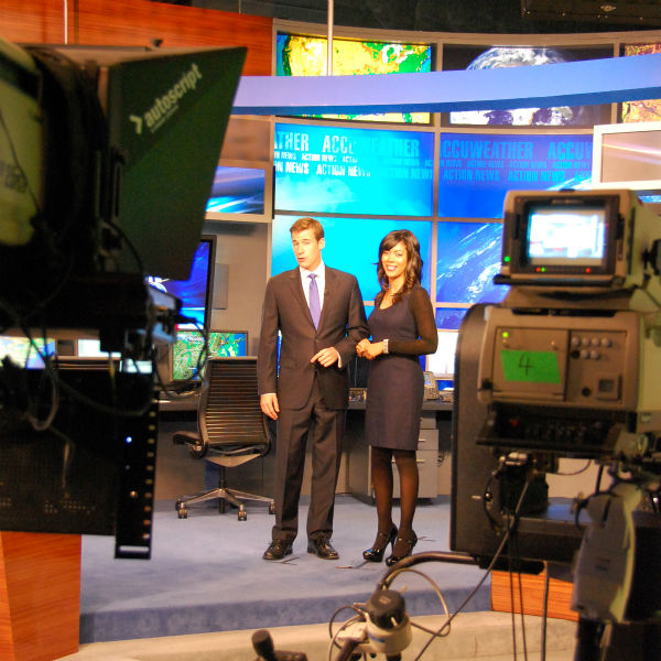 Brian Taff and Shirleen Allicot in between takes of a 4pm promo.