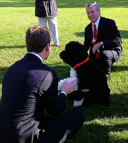 That's the President's dog Bo, shaking my hand. Best behaved dog I've ever met...