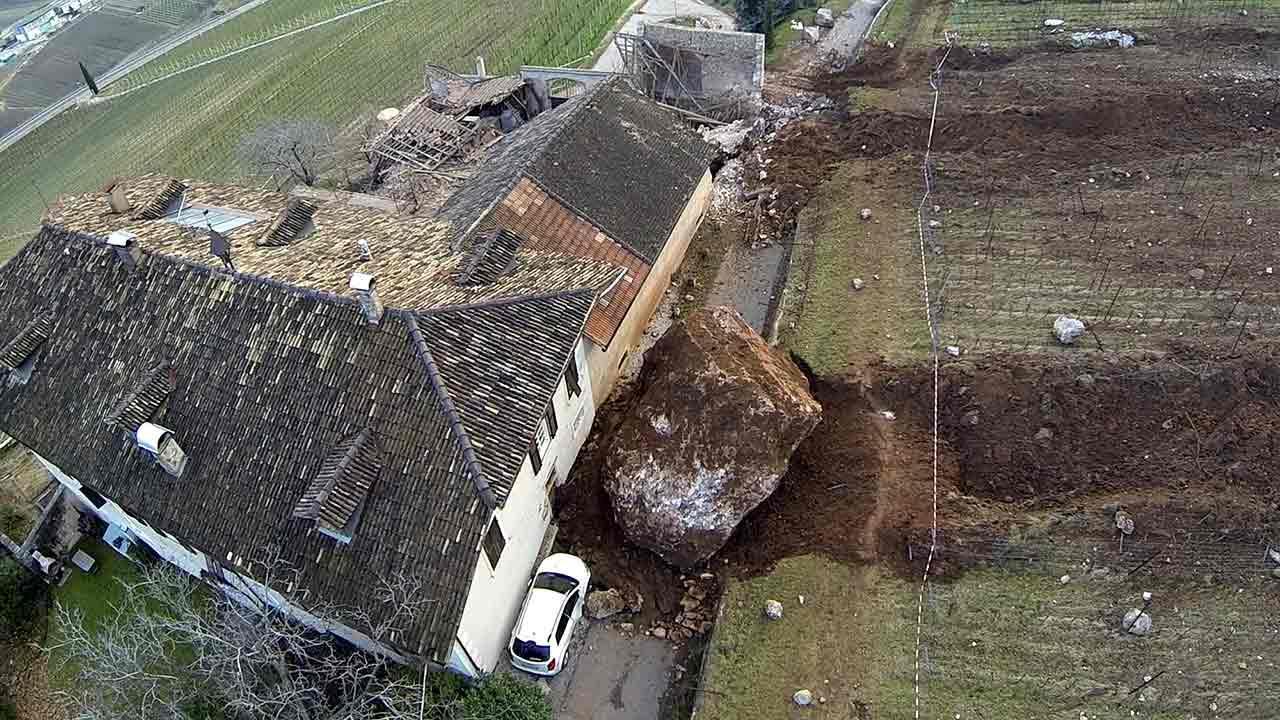 Boulder obliterates Italian barn in landslideAP Photo/Markus Hell, Tareom.com, ho