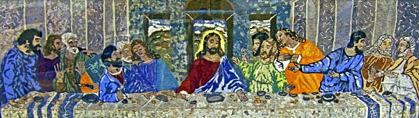 Last Supper made from laundry lint