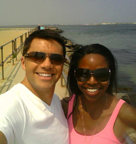 Adam Joseph and Melissa Magee before their Down at the Shore report on June 9, 2011.