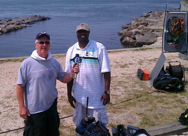 "<div class=""meta ""><span class=""caption-text "">Bob the photographer for 7 years of Down at the Shore, and Ricky the satellite truck operator for the broadcast on June 9, 2011.  </span></div>"