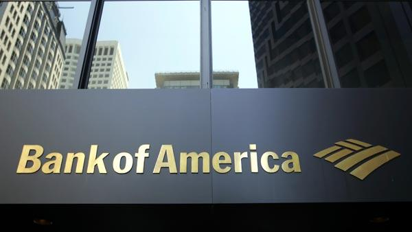 Bank of America sign is shown at a branch at the Bank of America Center in San Francisco