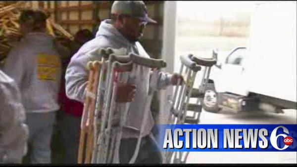 Hospital donates crutches to Haitian relief