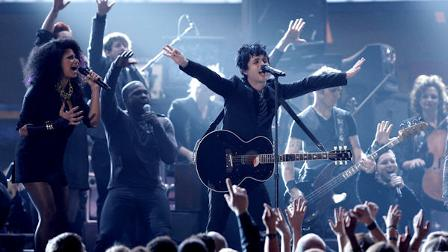 Green Day and the cast of American Idiot perform at the Grammy Awards on Sunday, Jan. 31, 2010, in Los Angeles. (AP Photo/Matt Sayles)